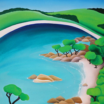 one of the seascape paintings by Mandy depicting a simplified view of the ocean as seen from bunker bay lookout