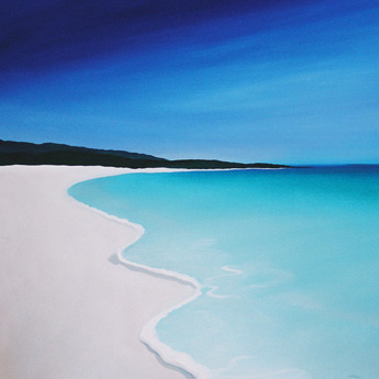 one of Mandys beach paintings depicting a styalized beach with the aqua blue water and white sand common to the dunsborough area