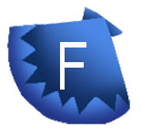 an image of a simplified blue shell with the letter f for facebook