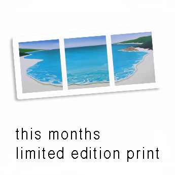 an image of the beach limited edition print that mandy has on sale with the words-this months limited edition