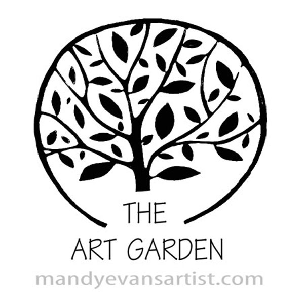 the art garden logo by Mandy which is a black tree enclosed by a circle