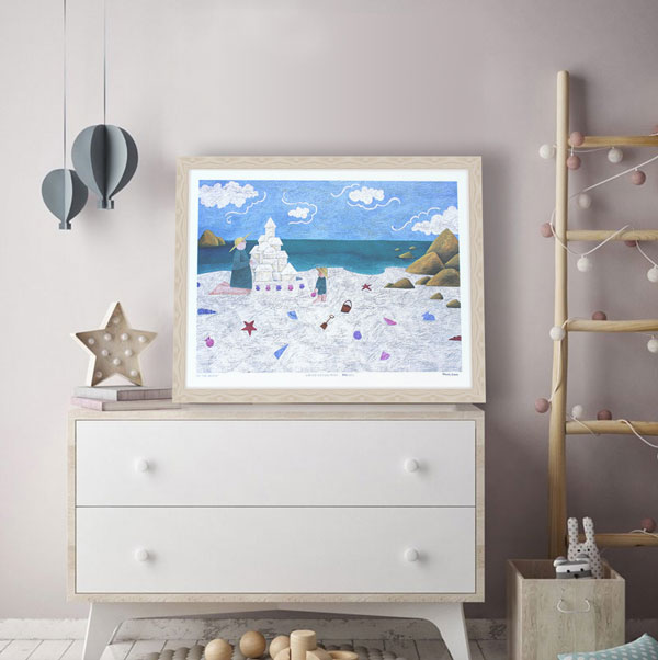 the limited edition print -at the beach- styled in a light frame in a beach themed room