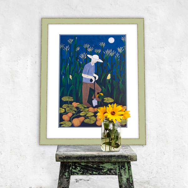 The limited edition called digging in the garden framed in an interior decoration setting