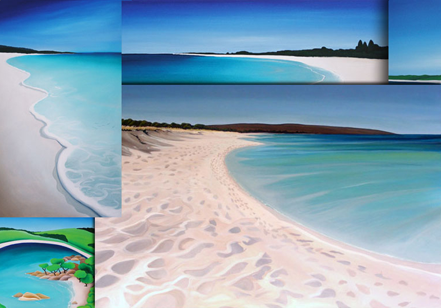 a compelation of mandys seascape paintings of dunsborough wa