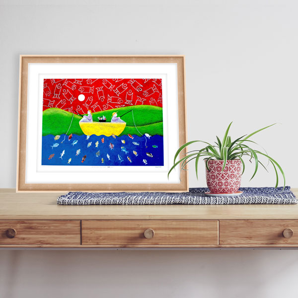 mandys art print of going fishing in a light frame in a minimal modern style