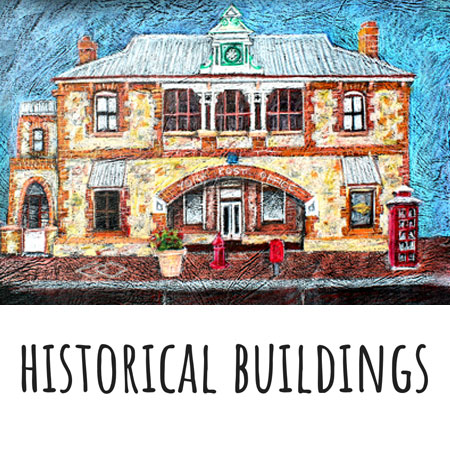 coloured pencil drawing of historical architecture