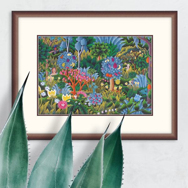 the jungle print in a dark wooden frame on a white wall