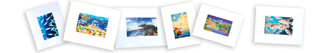 an image of a selection of small mounted prints