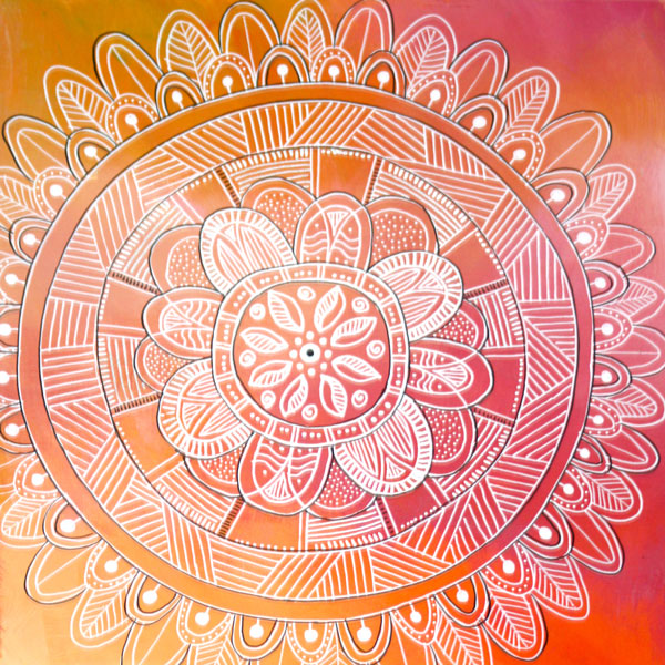 a closeup of one of Mandys sacred mandala paintings with an orange abstract background