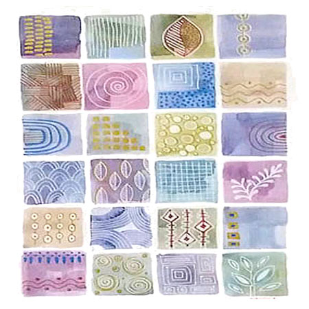 many square watercolor wash shapes overlayed with white markmaking abstract patterns