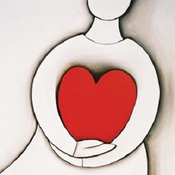 one of Mandys love heart paintings depicting a simplified person holding a big red love heart