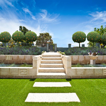 a photoshopped version of a hardlandscaped garden including mandys sculptures