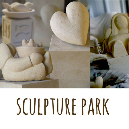a photoshopped montage of the various sculptures and concrete art made by Mandy