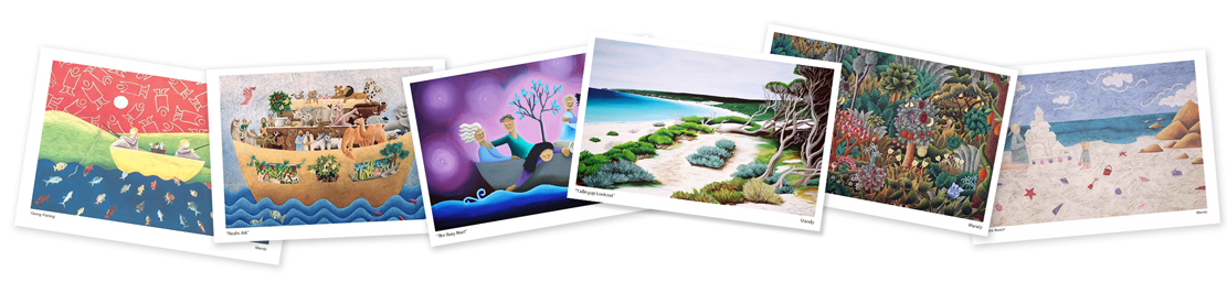 a array of different limited edition prints to show Mandys range of art